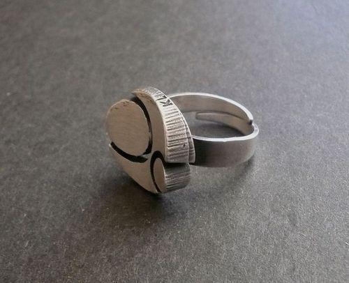 Karl Laine for Sten & Laine Finland Sterling Modernist Ring Adjustable