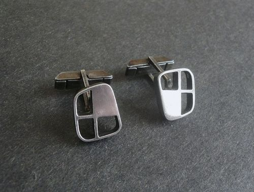 Paul LOBEL Vintage Modernist Sterling Cufflinks Cuff Links
