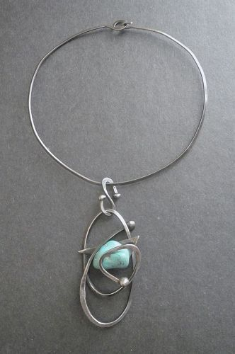 Sterling Hand Made Pendant Turquoise Stone Neck Ring Modernist