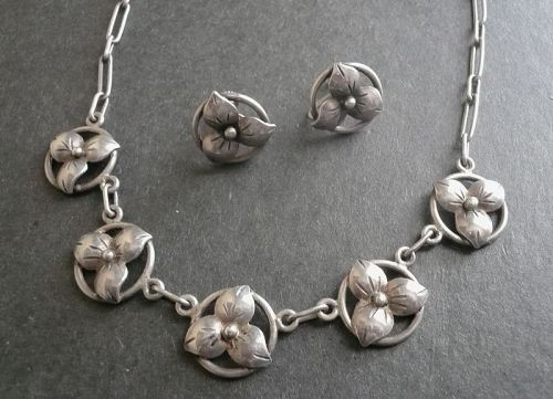 Sterling Arts & Crafts Floral Necklace and Earrings Hand Wrought