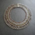 Vintage Mixed Metals Chain Woven Wide Necklace Mexico Collar