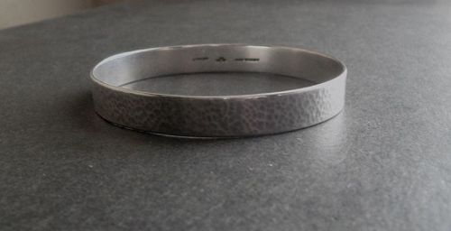 Vintage Gaylord Silvercraft Hammered Sterling Bangle Bracelet Signed