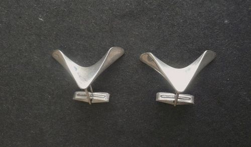 Modernist Ronald Pearson Sterling Heavy Cufflinks Boomerang