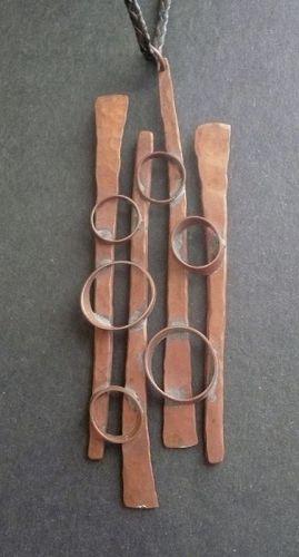 Huge Vintage Modernist Hand Wrought Pendant Leather Thong Signed