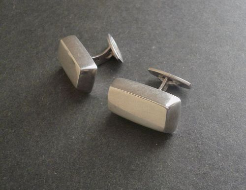 Vintage Hans Hansen Modernist Sterling Block Cuff LInks HaH Denmark