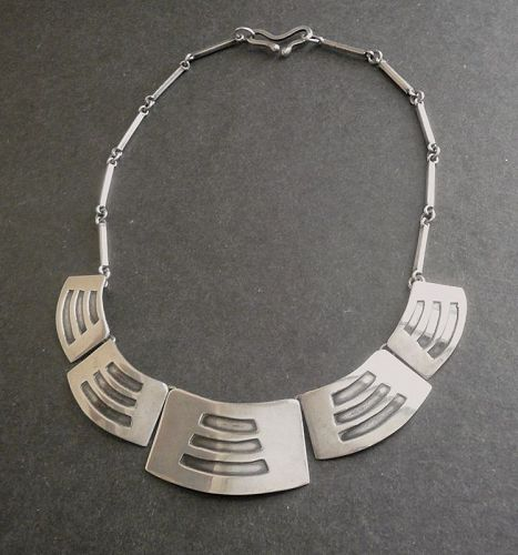 Sterling Modernist Layered Shied Necklace Handmade Vintage Studio