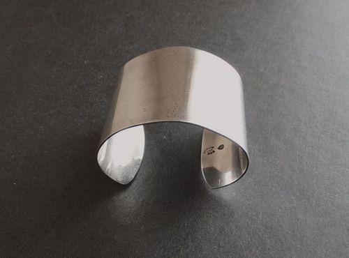 Vintage Taxco Sterling Silver Wide Cuff Bracelet Signed Eagle #8 LDH