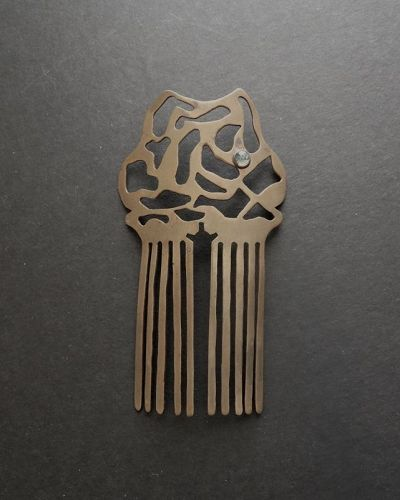 Arts and Crafts Brass Hair Comb Cut Out Design with Stone Cabochon