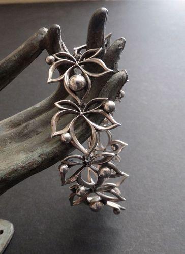 Vintage Kurt Erik Christoffersen Leaves Bracelet Modernist Sterling