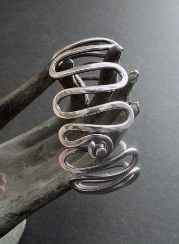Vintage Hand Wrought Sterling Silver Squiggle Bracelet Modernist