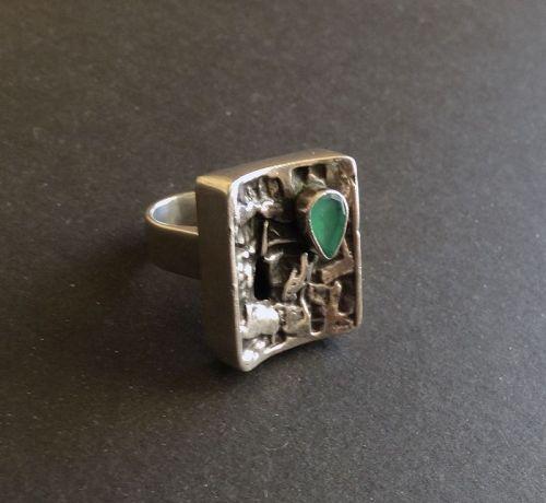 Sterling Modernist Rachel Gera Gemstone Ring Heavy Size 6.5-7