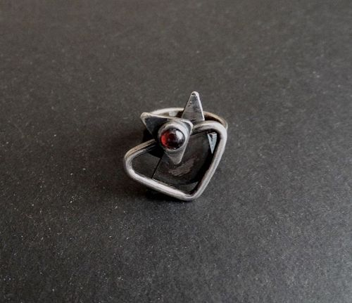 Sam Kramer Ring Garnet Cabochon Modernist Sterling Silver Mushroom