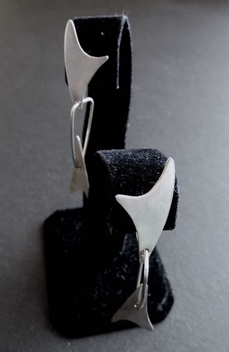 Rare Art Smith Mid Century Modernist Sterling Earrings Signed Dangles
