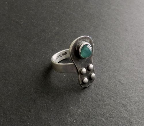 Sam Kramer Ring Green Cabochon Modernist Sterling Mushroom Sz 7.5