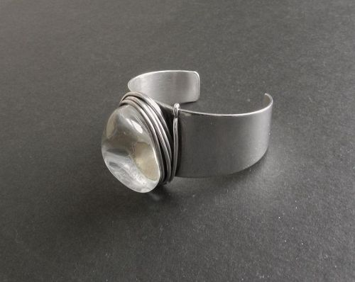 Rebajes Sterling Modernist Cuff Bracelet Hand Wrought Early Vintage