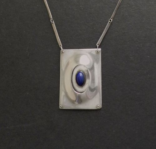Sterling Hand Made Modernist Pendant Necklace 3D Lapis Cabochon
