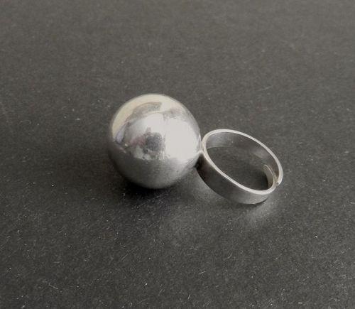 Vintage Denmark Modernist Sterling Orb Ring SZ 7 Adj  Hermann Siersbol