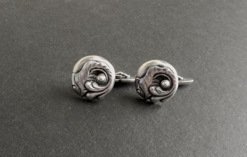 Vintage Georg Jensen Sterling Fish Cuff Links #14 GJ Mark Denmark