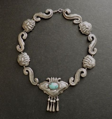 Matilde Poulat Matl Early Moth Necklace Silver Repousse Turquoise