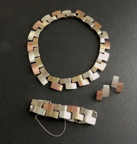 Vtg Taxco Metales Casados Necklace Bracelet Earrings Silver Copper