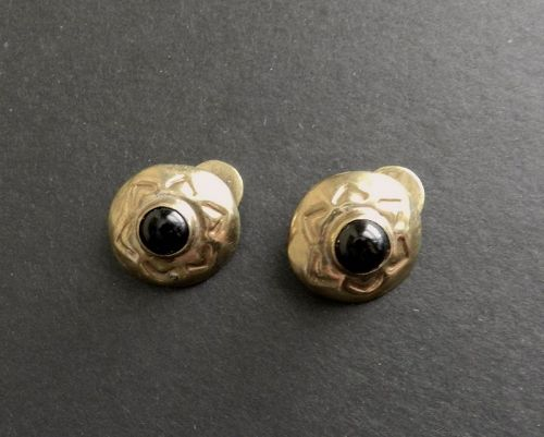 Rare Hubert Harmon Brass and Onyx Cuff Links Taxco Mexico