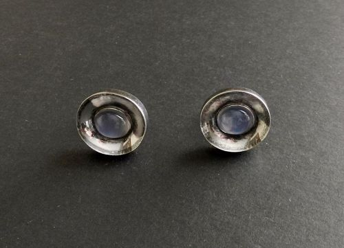 Modernist Antonio Pineda Taxco Sterling 970 Cufflinks Moonstones