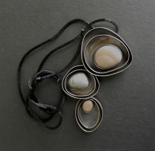 MCM Modernist Ruth Berridge Large Pendant Necklace Sterling Stones