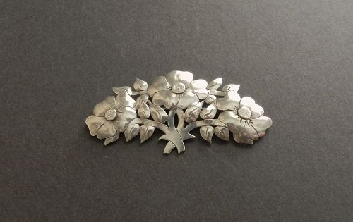 Arts and Crafts Hand Wrought Sterling Brooch Reticulated Floral Signed
