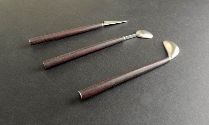 Vintage Taxco Sterling Wood Three Piece Bar Tools Set Eagle 1 Signed