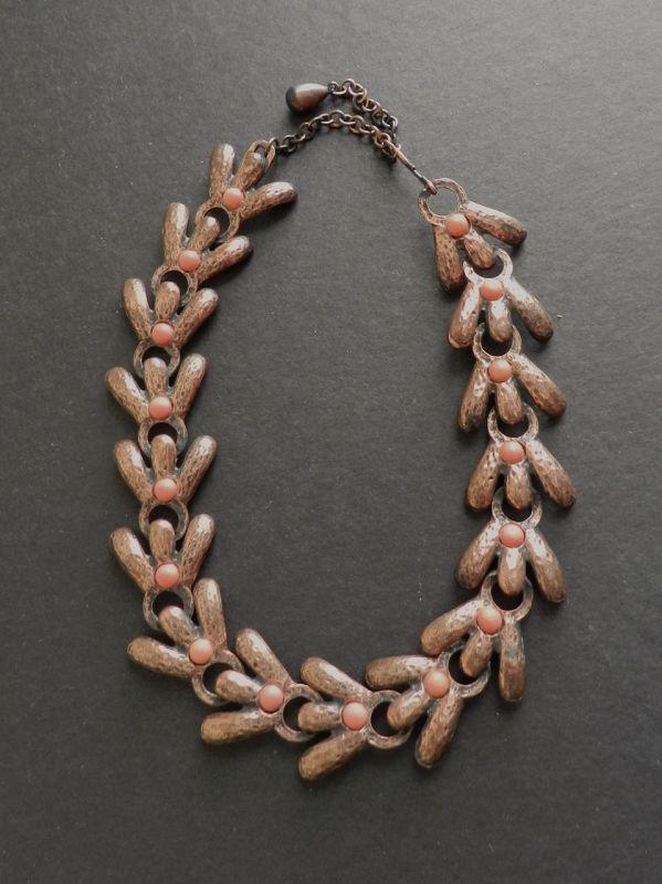 Vintage Rebajes Necklace Bracelet Copper Coral Set Early Modernist