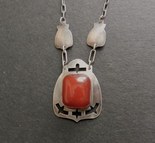 Art Silver Shop Sterling Necklace Carnelian Chicago Arts and Crafts