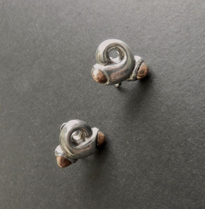 Rare Spratling Taxco Sterling Pretzel Earrings Vintage Modernist Mixed