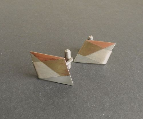 Modernist Antonio Pineda Taxco Sterling Mixed Metals Cufflinks Crown