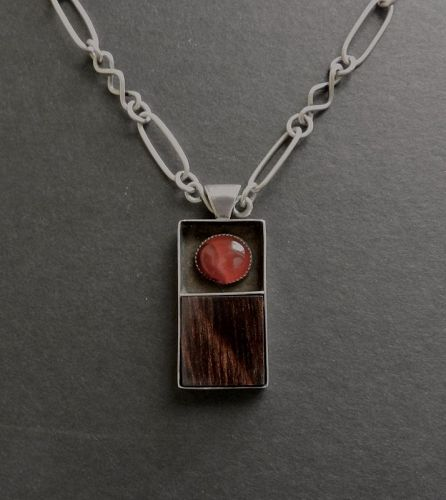 Vintage Modernist Sterling Carnelian Wood Pendant Hand Made Studio