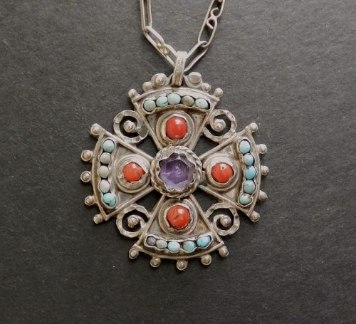 Early Matilde Poulat MATL Cross Pendant Coral Amethyst Turquoise Chain