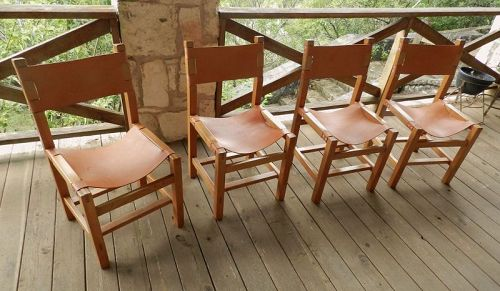 Maison Regain Set of Four Chairs Hand Crafted Mid Century Modern