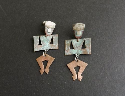 Ken Beldin Signed Figural Kinetic MCM Mixed Metals Copper Earrings