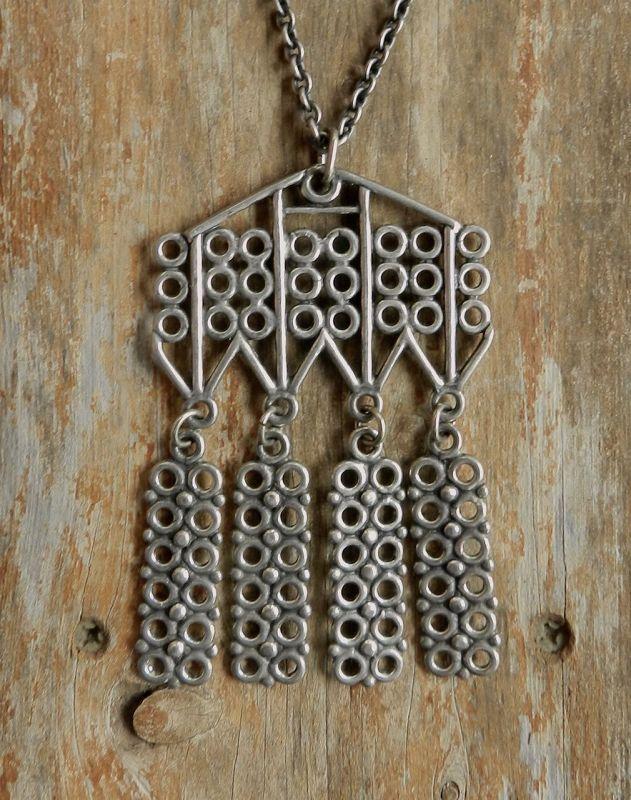 Norway Pewter KMJ Modernist Large Pendant Necklace Kinetic
