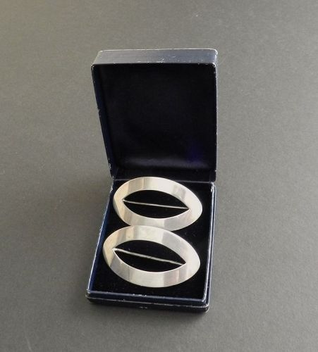 Tiffany & Company Pair of Sterling Silver Brooches with Original Box