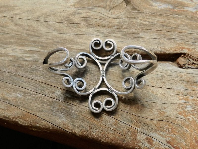 Vintage Taxco Sterling Cuff Bracelet Thick Curled Wire Signed Eagle #