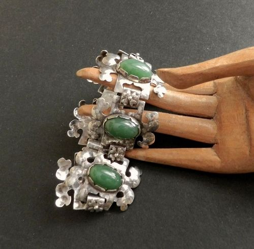 Arts and Crafts Hammered Sterling Bracelet Hand Wrought Green Stones