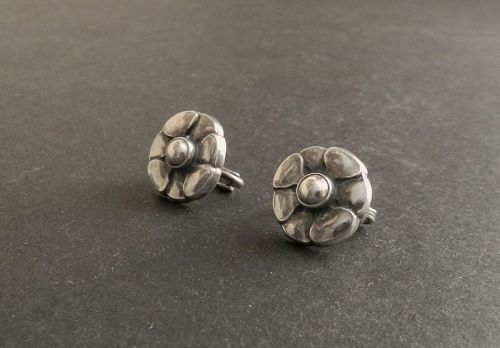 Vintage Georg Jensen Sterling Earrings #36 Denmark Floral Clips