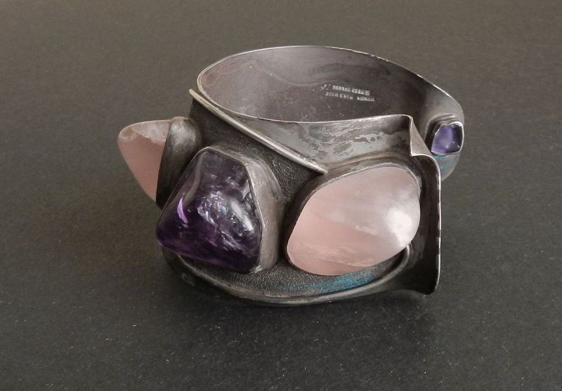 H. Fred Skaggs Modernist Sterling Purple French Cuff Bracelet Vintage