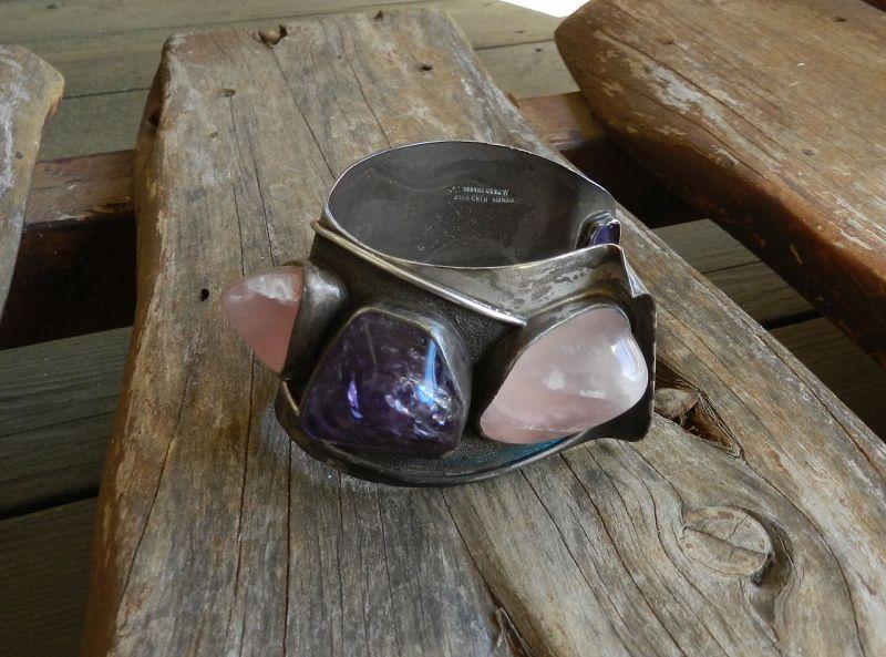 H. Fred Skaggs Modernist Sterling Purple French Cuff Bracelet Vintage