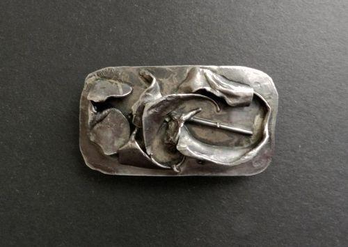 Vintage Silver Buckle Brutalist Modernist Artist Signed R A Heavy