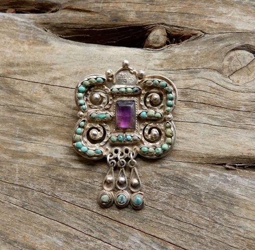 Matilde Poulat MATL Butterfly Pin Eagle 129 Amethyst Turquoise Salas
