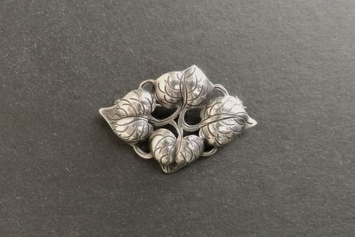 Classic Kalo Sterling Silver Hand Wrought Brooch Vines Leaves Chicago