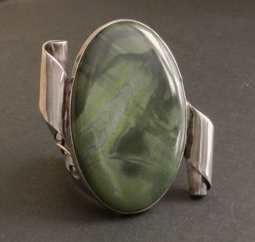 H. Fred Skaggs Modernist Sterling Huge Stone Cuff Bracelet 170 Grams