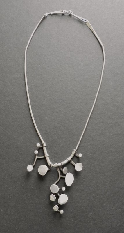 Ruth Berridge MCM Modernist Pendant Necklace Sterling Hand Wrought