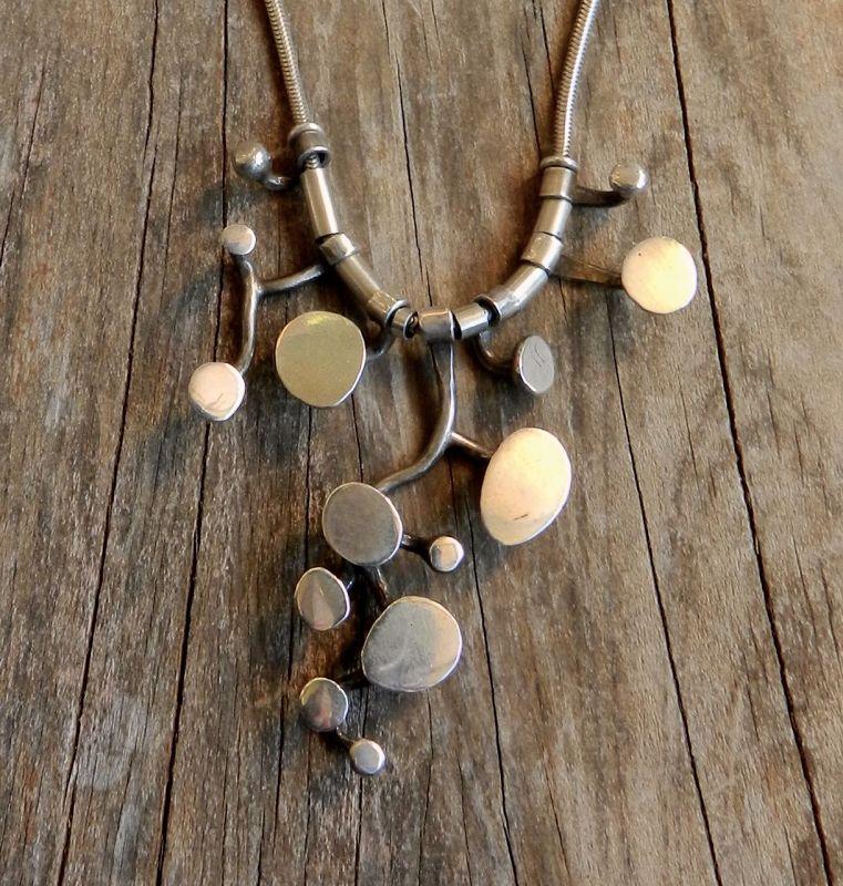 Ruth Berridge MCM Modernist Pendant Necklace Sterling Hand Wrought